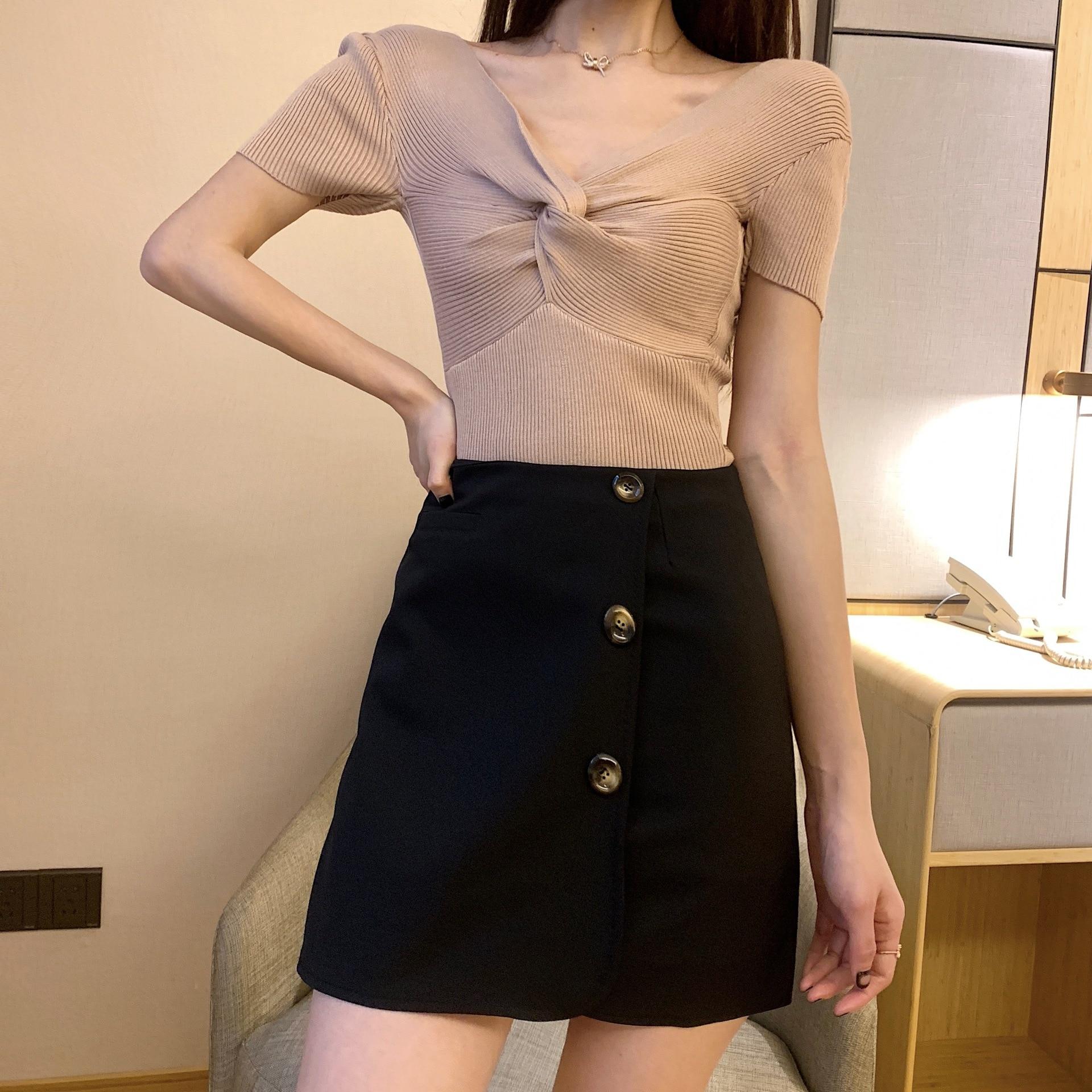 Photo Shoot 2019 New Style Single Breasted Skirt Korean-style CHIC High-waisted Versatile Slimming A- Line Short Skirt Children