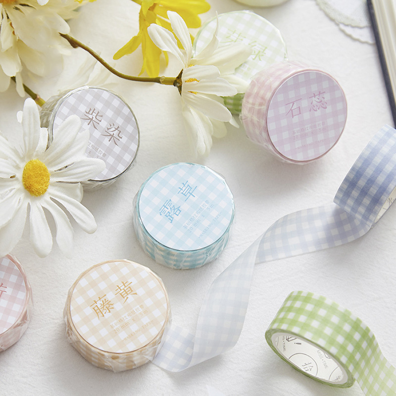 Kawaii Grid Stripe Washi Tape Cute Plaid Masking Tape Decorative Tape For Diary Scrapbooking DIY Photos Albums Stationery Tapes
