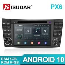 Isudar PX6 Android 10 2 Din Radio Coche Para Mercedes/Benz/E-clase/W211/E300/CLK/W209/CLS/W219 Reproductor Multimedia DVD Automóvil Pantalla Altavoces Manos Libres Bluetooth Subwoofer 4G Mandos Del Volante GPS
