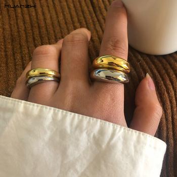 HUANZHI 2020 nowy modny osobowość Vintage prosty błyszczący szeroki wersja otwarcia regulowane pierścienie dla kobiet l Party biżuteria prezent tanie i dobre opinie Miedzi Ze stopu Aluminium ze stopu Aluminium Kobiety Metal Hiphop Rock Koktajl pierścień ROUND All Compatible Brak Moda