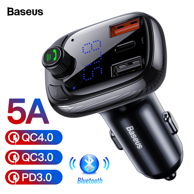 Image 1 - Baseus Quick Charge 4.0 3.0 USB Car Charger QC QC4.0 Bluetooth FM Transmitter Car Kit For iPhone 11 Pro Max 5A Fast PD Charger-in Car Chargers from Cellphones & Telecommunications