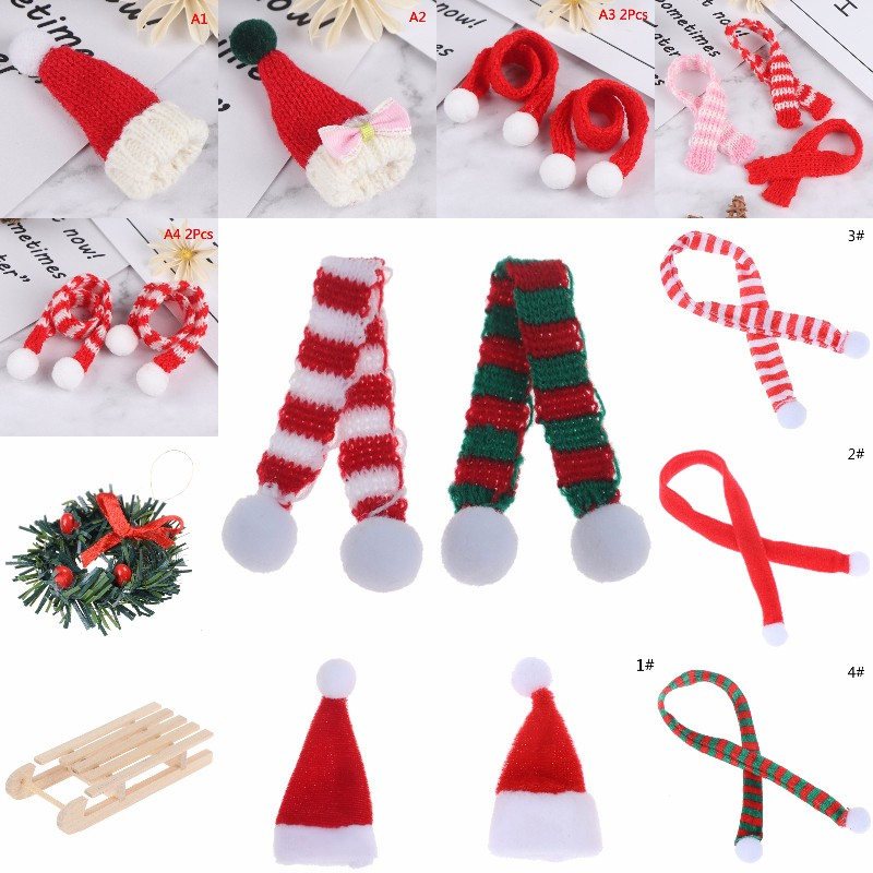 Christmas Hat + Scarf Dollhouse Accessories Decor Doll Lovely Hat Dollhouse Miniature Best Xmas Gift For Baby Kids Girls