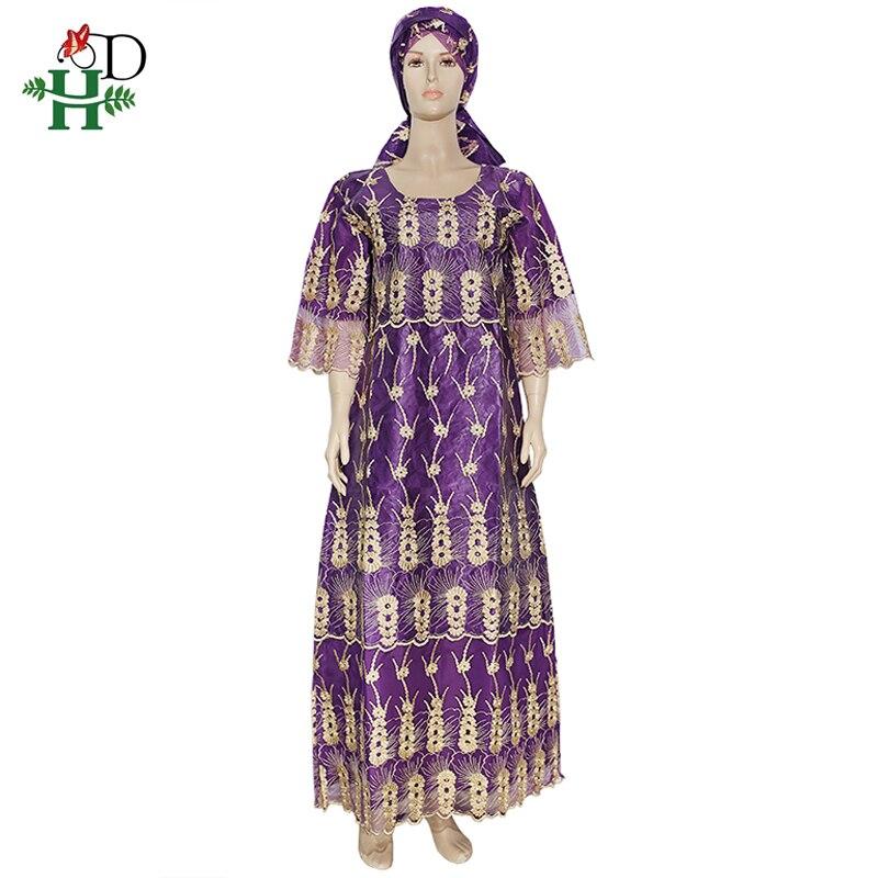 H&D African Lace Dress Women Bazin Dashiki Clothing Embroidery Long Dresses Plus Size Ladies 4XL Robe 2020 New Year Purple Dress