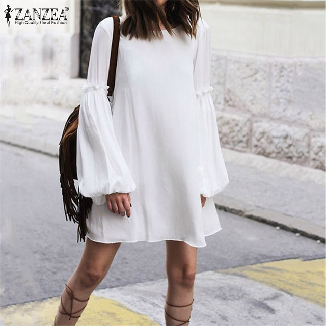 Women's Dress ZANZEA Bohemian Loose Long Shirt Dresses Fashion Ladies Sexy Lace Up Backless Vestidos Short Dresses Plus Size 5XL 2