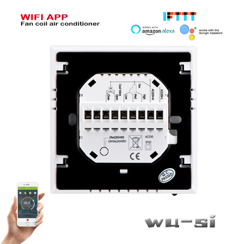 TUYA WIFI thermostat-2PIPE fan coil unit thermostat,Works with Alexa Google home wifi thermostat,24VAC 95-240VAC цена 2017