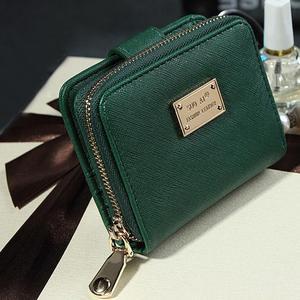 wallet Lady Women Purse Clutch Wallet Short Small Bag Card Holder green black pink PU Leather zip wallets billetera mujer
