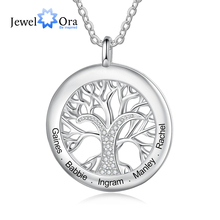 JewelOra Tree Of Life Personalized Necklaces Family Jewelry Sliver Color Necklace&Pendant for Women Engraved Names Memory Gifts