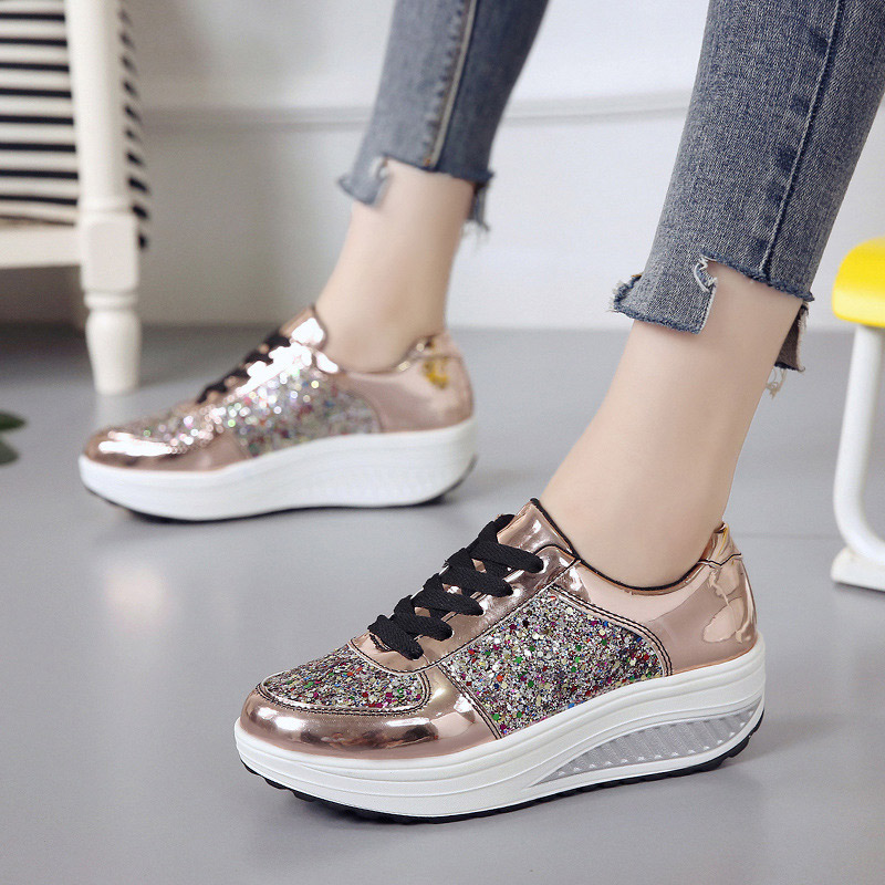 Women's Bling Lace Up Vulcanize Shoes Woman Sneakers Female Mix Color Causal Mirror Rocking Shoes Ladies Fashion Platform Flat