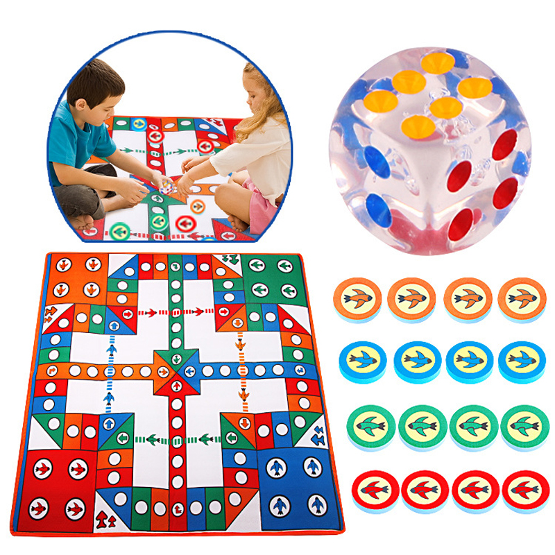 Kids 82cm Simply Ludo Chess Pattern Play Mats Baby Crawling Mat Outdoor Camping Carpet Interactive Toys For Children Play Games
