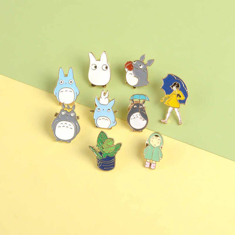 Jepang Kartun Totoro Enamel Pin Bros Hewan Lucu Memegang Payung Kerah Pin Pakaian Tas Lencana Totoro Perhiasan Anak Hadiah