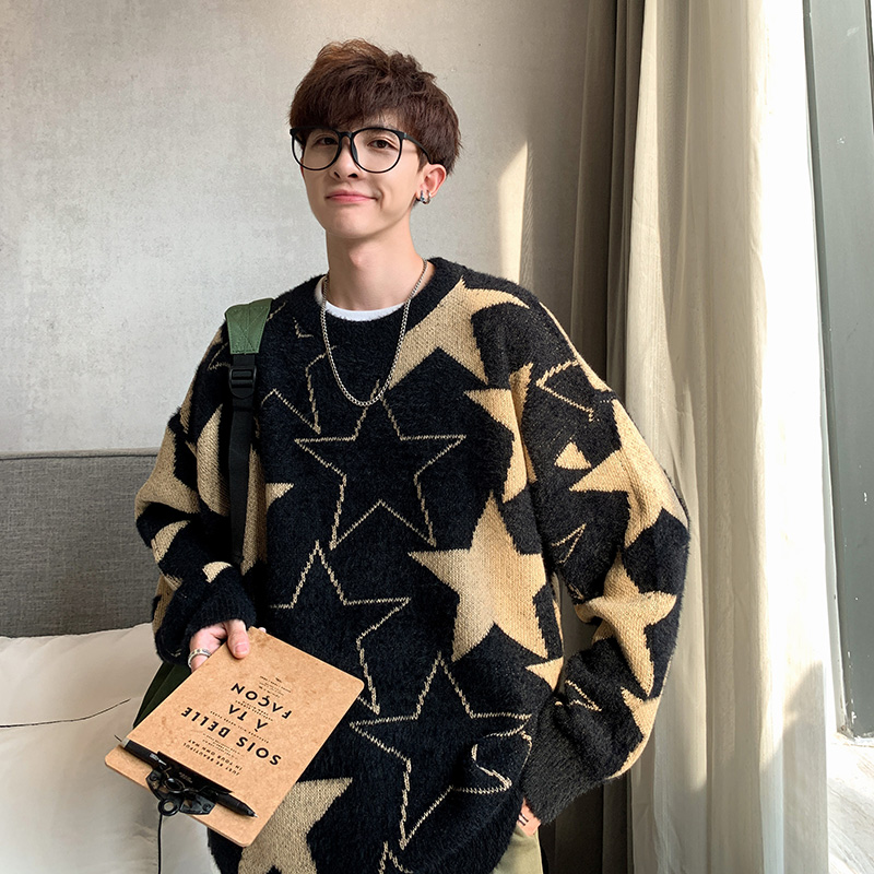 YASUGUOJI Hip Pop Loose Mens Pullover Sweaters Fashion Star Pattern Knitted Sweater Men Autumn Casual Christmas Sweater 2019