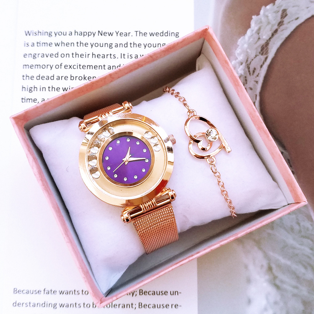 Luxury 2pcs Crystal Women Watch Bracelet Set Fashion Women's Quartz Wristwatch Bracelet Ladies Clock zegarek damski Reloj Mujer