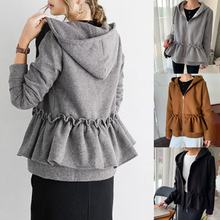Женская плиссированная куртка на молнии однотонная с длинными