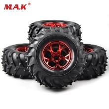 4Pcs 1/10 Tires&Wheel Rims Set 12mm Hex For HSP HPI Bigfoot Monster RC Truck Car 4pcs set rc parts 12mm hex bead loc short course ruber tire rims for hpi hsp rc 1 10 traxxas slash