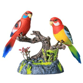 Electronic Voice Controlled Pet Birds Simulation Bird Home Decoration Kids Toy