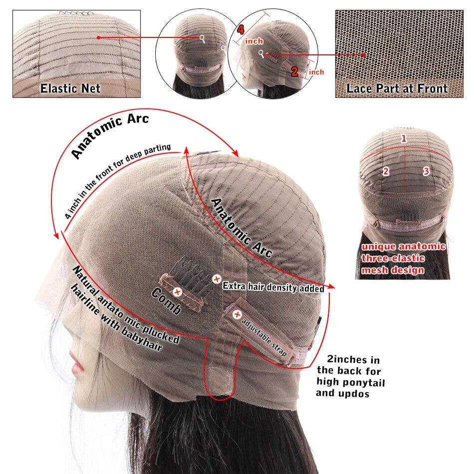 Soul Lady 360 peluca Frontal de encaje Pre desplumado con pelo de bebé 150% densidad Remy brasileño rizado cabello humano pelucas para las mujeres negras - 4