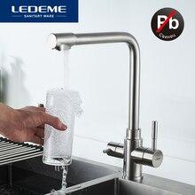 LEDEME mutfak musluk filtrelenmiş su çift borulu su arıtma paslanmaz çelik mutfak musluk lavabo bataryası vinç L4355 3