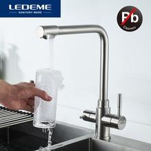LEDEME robinet de cuisine avec filtre à eau, Double bec pour Purification de leau, en acier inoxydable robinet de cuisine avec évier, grue mitigeur L4355 3