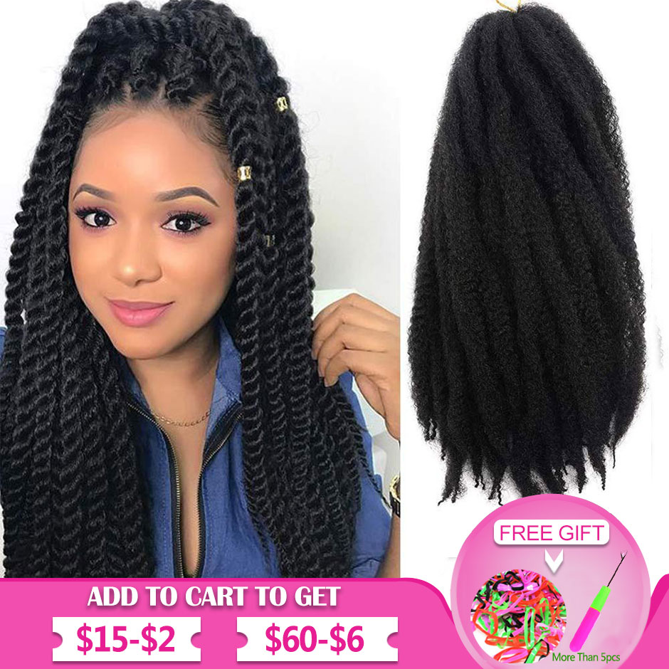 Marley Hair For Twists 18 Inch Long Afro Marley Braid Hair Synthetic Fiber Marley Braiding Hair Extensions Crochet Braids