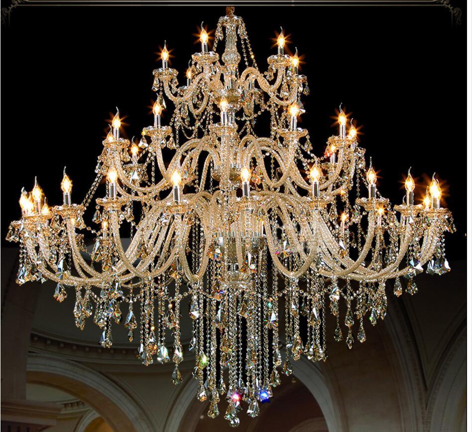 Gratis Pengiriman Modern Chandelier Besar Cognac Lampu Kristal Untuk - Pencahayaan dalam ruangan - Foto 6