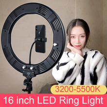 Photo Studio 16 inch Selfie Ring Light 60W 448pcs LED 3200-5500K with Tripod for youtube Video Phone Holder for Cell Phone capsaver 2 in 1 kit led video light studio photo led panel photographic lighting with tripod bag battery 600 led 5500k cri 95