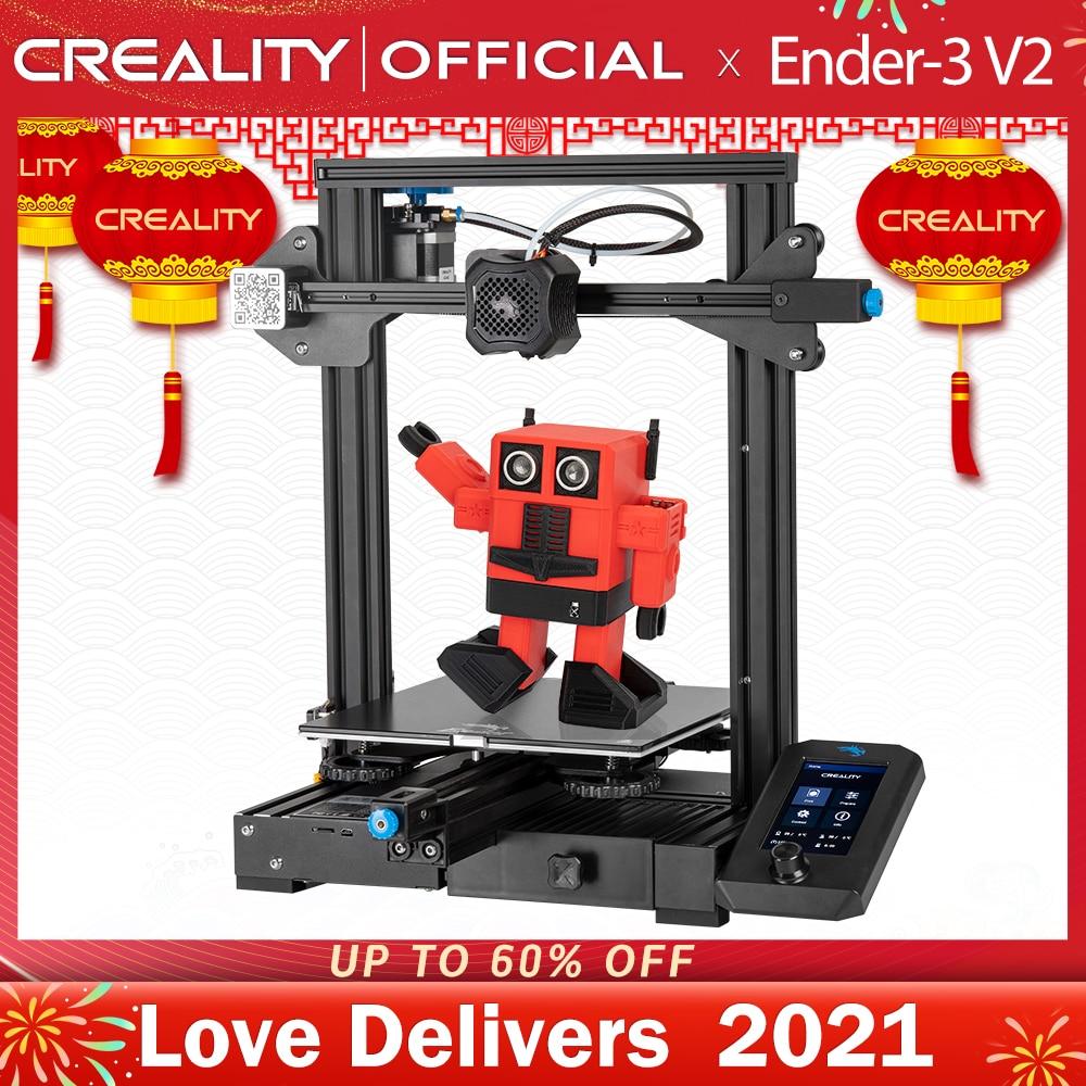 Creality 3d Ender-3 v2 mainboard com silencioso tmc2208 stepper drivers nova ui & 4.3 Polegada cor lcd carborindo cama de vidro impressora 3d
