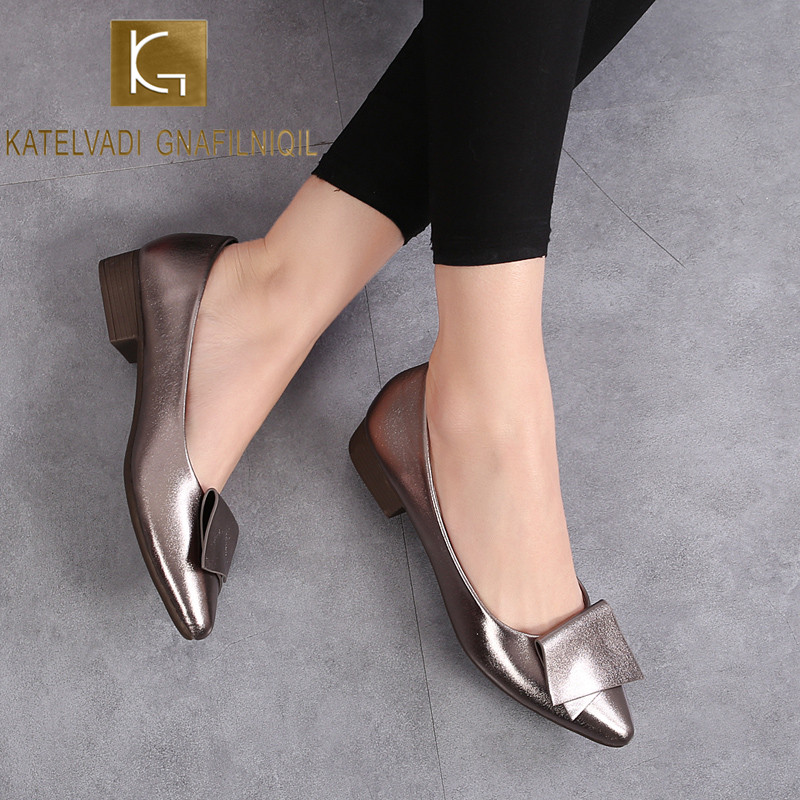 KATELVADI Spring Autumn Flats Fashion Pointed Toe Office Lady Weekends Shoes Slip On Loafers Women Flat Heel Driving Shoes JN007