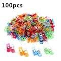 100 шт., разноцветные пластиковые зажимы для шитья, одеяла