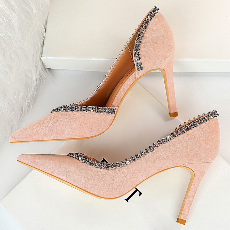 Women 8cm 10cm High Heels Crystal Glitter Pumps Lady Fashion Purple Pointed Escarpins Fetish Pink Low Heels Sexy Party Shoes