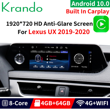 Krando Android 10.0 4G 64G 10.25'' for Lexus UX 2019 2020 Gps Navigation Car Radio Multimedia Player Carplay image