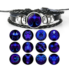 Fashion Luminous 12 Constellation Zodiac Leather Bracelets Unisex Jewelry Blue Eternity Punk Bracelet for Party