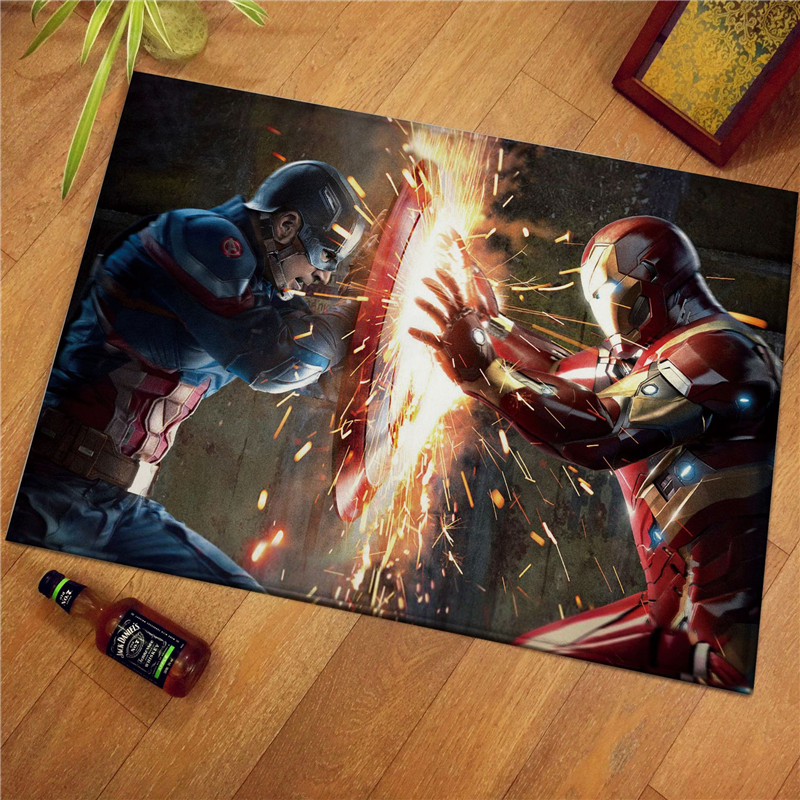 The Avenges Marvel Team Superhero Door Mat Rug Captain America Carpet Floor Bedroom Doormat Non-slip Mat Cartoon Gift
