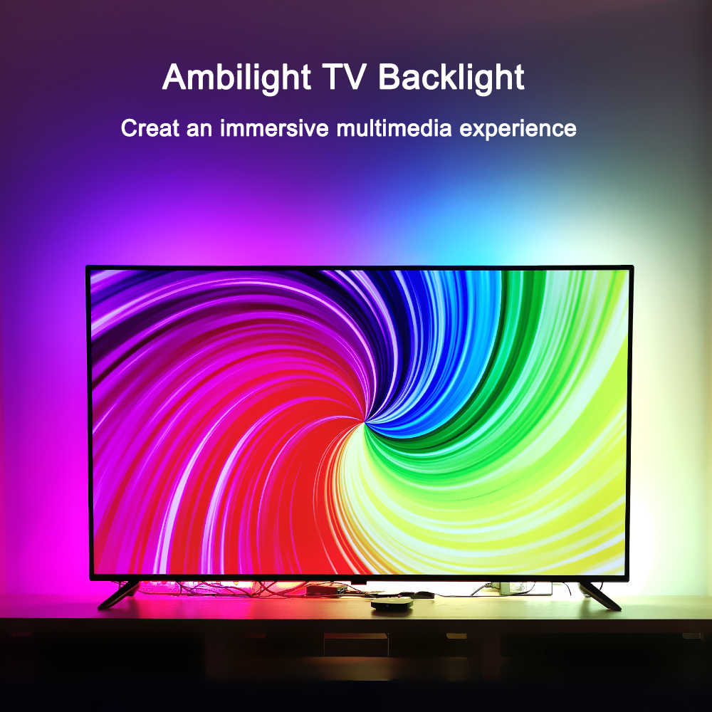 "TV retroiluminación Ambilight kit TV Ambilight efecto para 4K TV HDMI fuentes salón luces ambiente iluminación bias 55 ""-80"" TV"