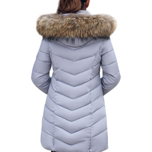 Image 2 - 2019 Winter Women Down Jackets Warm Parka Inflatable Coats With Fur Collar Hooded Female Winter Clothes Fashion Thick Outwear