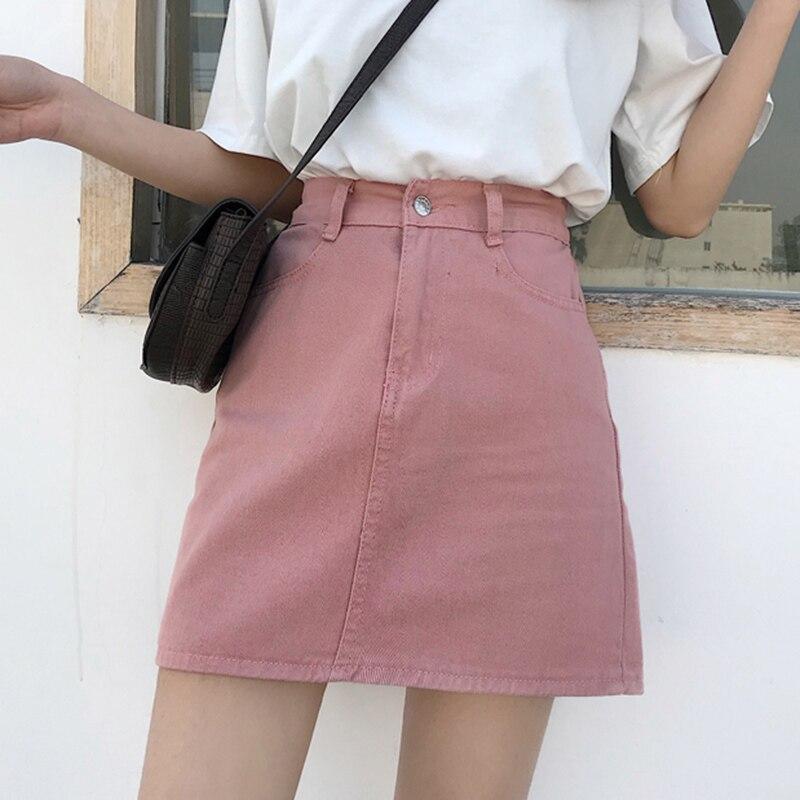 Denim Skirt For Women White 2020 A Line Short Jeans Skirt Women High Waist Skirts Womens Korean Denim Skirt Female