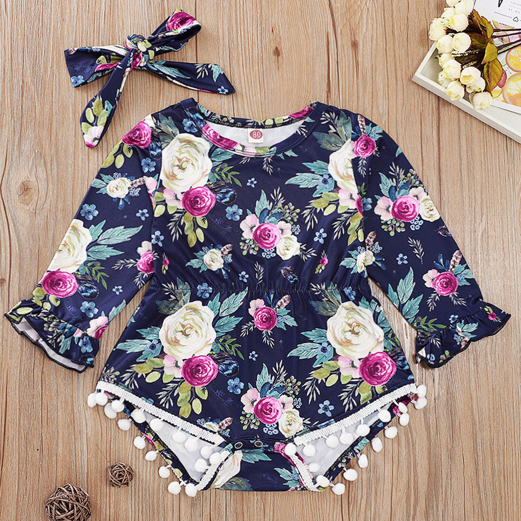 Summer Infant Newborn Baby Girls Floral Romper Jumpsuit Bodysuit Outfits Clothes