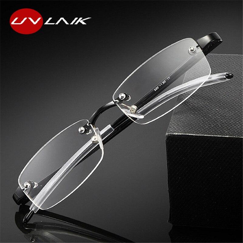 UVLAIK прозрачные очки для чтения без оправы для мужчин и женщин без оправы TR90 оптические очки 1,0 1,5 2,0 2,5 3,0 3,5