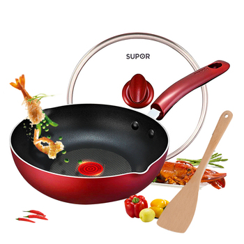 Fire red point smokeless wok non-stick pan multi-function wok household non-stick pan 28cm induction cooker universal