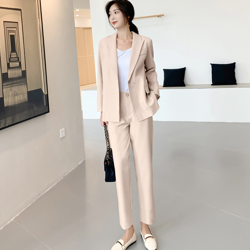 Drop Shipping Elegant Women Pant Suits One-button Blazer Jacket & Ankle-length Pants Workwear Female Suits 2 Pieces Set