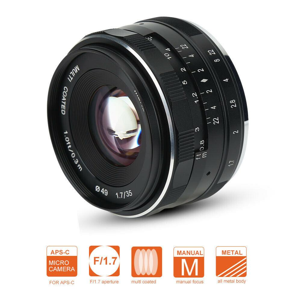 Meike MK-35mm F1.7 Wide Angle-Prime Manual Focus Lens APS-C for DSLR SONY CANON FUJI NIKON Micro Camera image