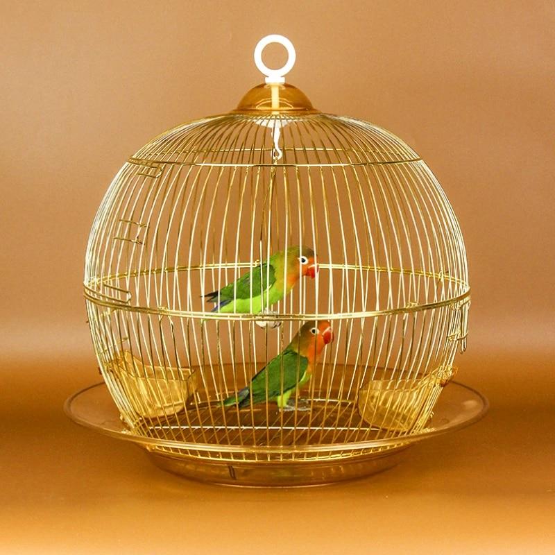 Dengan Aksesoris Besar Sangkar Burung Logam Bulat Parkit Kandang Swing Untuk Bayan Burung Mainan Hut Pembiakan Kotak Dekoratif Menggantung Kerang Kandang Burung Sarang Aliexpress