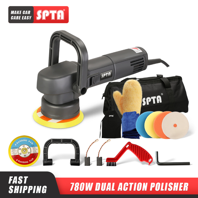 SPTA 5inch Dual Action Polisher 8mm Random Orbit Professional Polishing Machine 780W Electric Buffing Polisher Car Beauty Tools