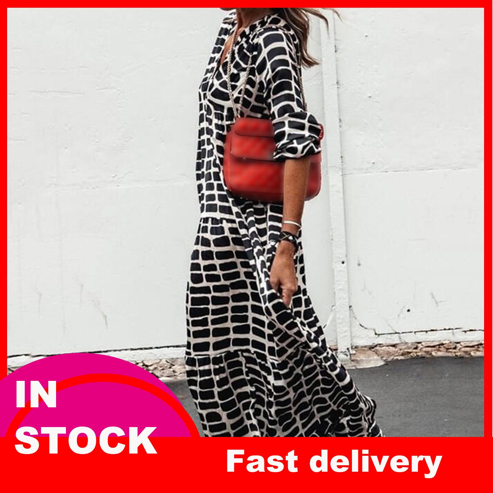 4# Printed Leopard Dress Woman V neck Swing Long Sleeve Dress Floor length Dress Vetement Femme 2021 Robe Femme Платье Летнее