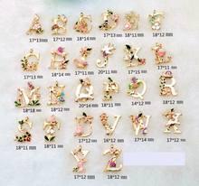 Новый A-Z Подвески Эмаль Подвески Цветы Начальная буква ручной работы кулон для браслет