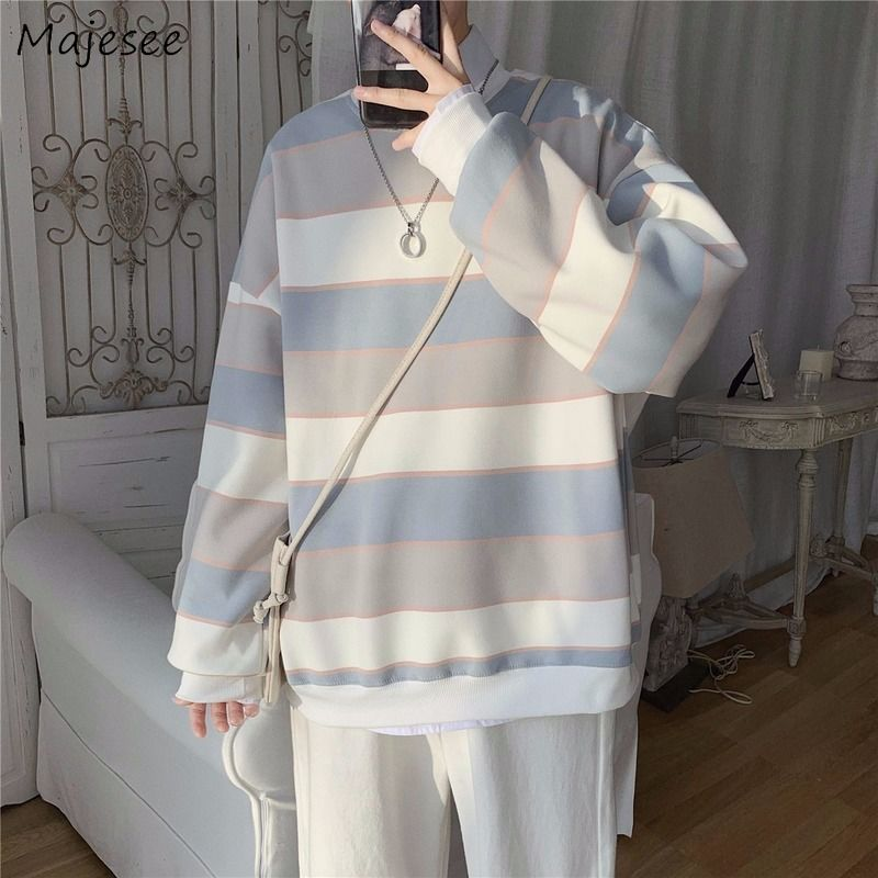 Hoodies Men Striped Korean Style Hip Hop Students All-match O-Neck Long Sleeve Tops Mens Leisure Large Size Couple High Quality