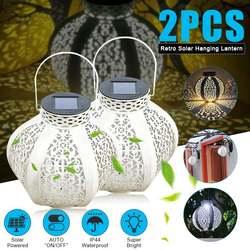 2 sztuk LED lampa słoneczna na zewnątrz latarnia lampa słoneczna Retro światła wiszące dekoracje ogrodowe do ogrodu na trawnik oświetlenie na