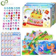 9 adet DIY elmas çıkartmalar köpük EVA el yapımı kristal macun boyama mozaik bulmaca oyuncaklar rastgele renk çocuklar çocuk çıkartmalar hediye WXK