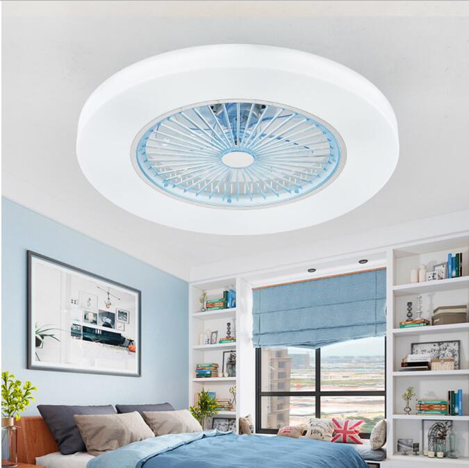 220 v/110 v led escurecimento controle remoto ventiladores de teto lâmpada folhas invisíveis 58cm simples e moderno decoração para casa luminária