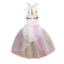 Infant Baby Girls Bodysuit Summer Unicorn Print Sequined Lace Sleeveless Clothes