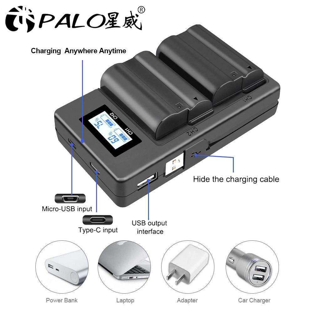 PALO EN-EL15 ENEL15 EL15 Battery Charger LCD USB Dual Charger for Nikon D500D600D610D750D7000D7100D7200D800D800ED810